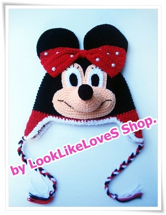 crochet minnie mouse hat | Red Minnie Mouse Crochet hat 1years old ...