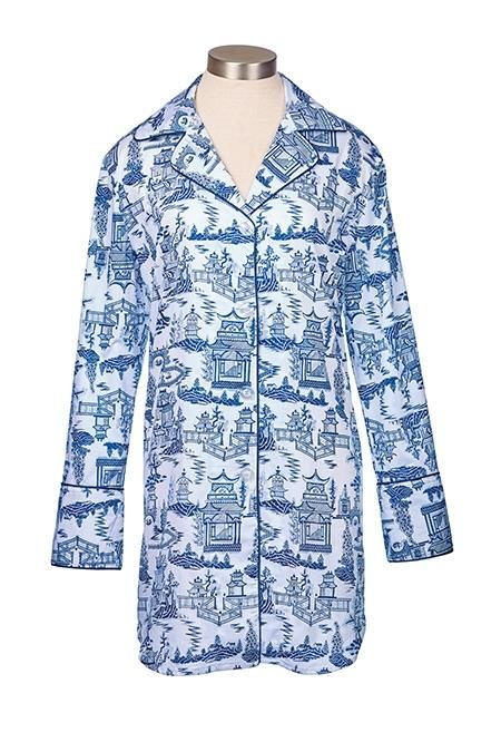 ddf570276a2 Sleep tight in 100% cotton sateen nightshirt with navy trim and french  cuffs.