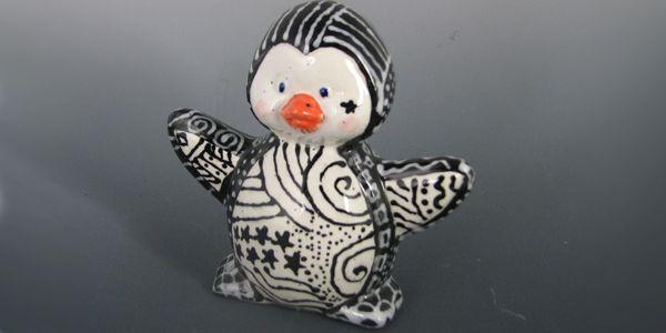 Pottery Painting... Doodled Penguin by Jen Bethmann