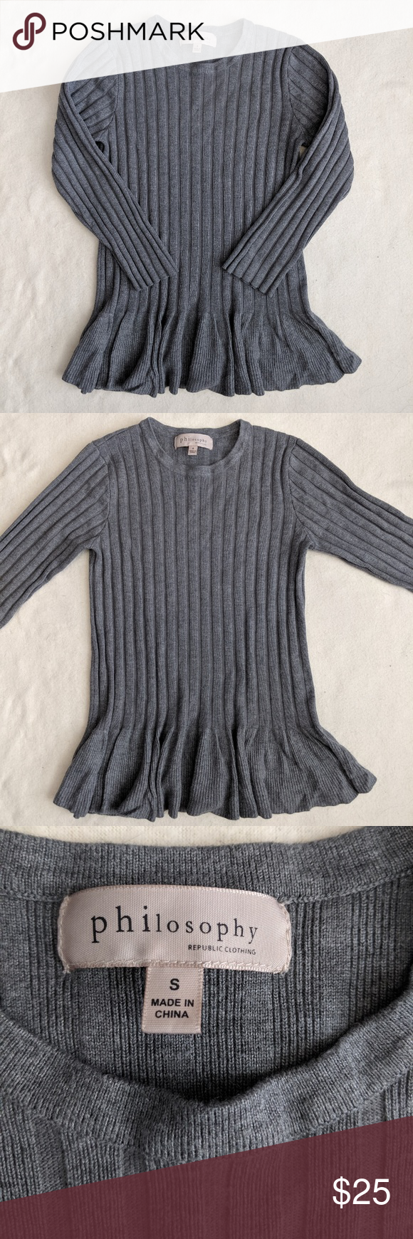 Philosophy Ribbed Ruffle Hem Sweater Philosophy Ribbed Ruffle Hem Gray Sweater Size Small Such A Cute Sweater W Ruffle Hem Sweater Cute Sweaters Grey Sweater