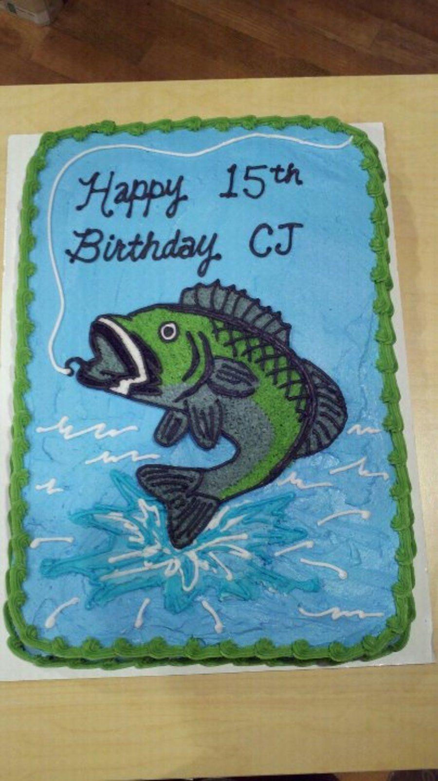Wondrous Bass Fish Birthday Cake Fish Cake Birthday Boy Birthday Cake Funny Birthday Cards Online Overcheapnameinfo
