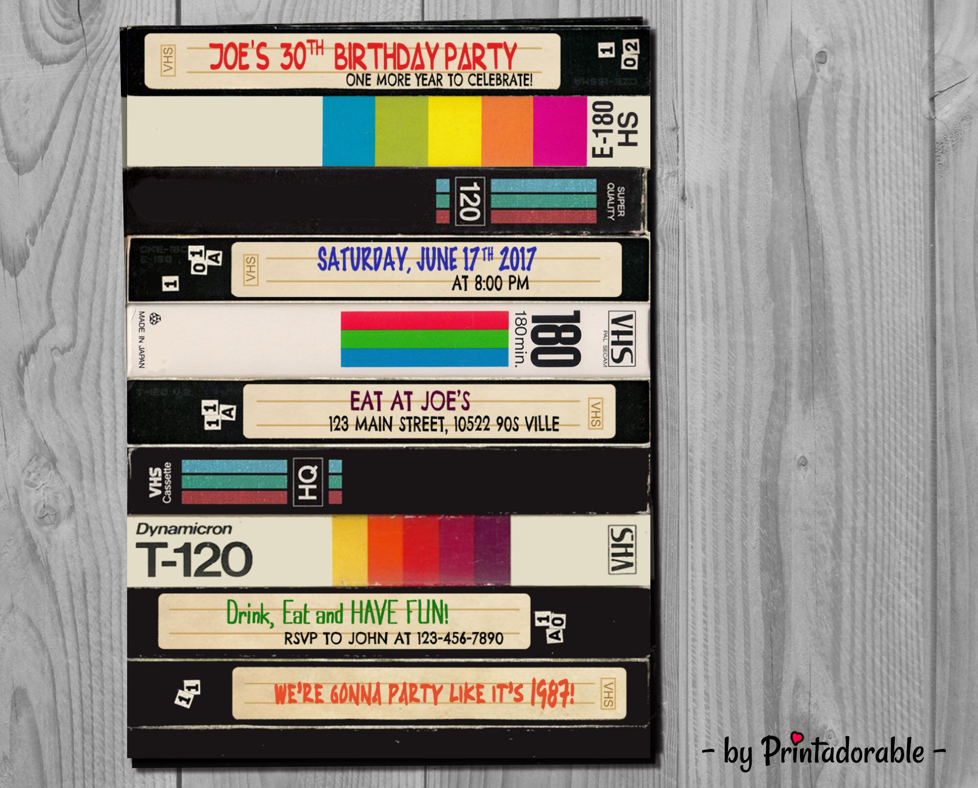 Retro VCR Greeting Card 80s 90s Birthday Card Vintage video cassette Card