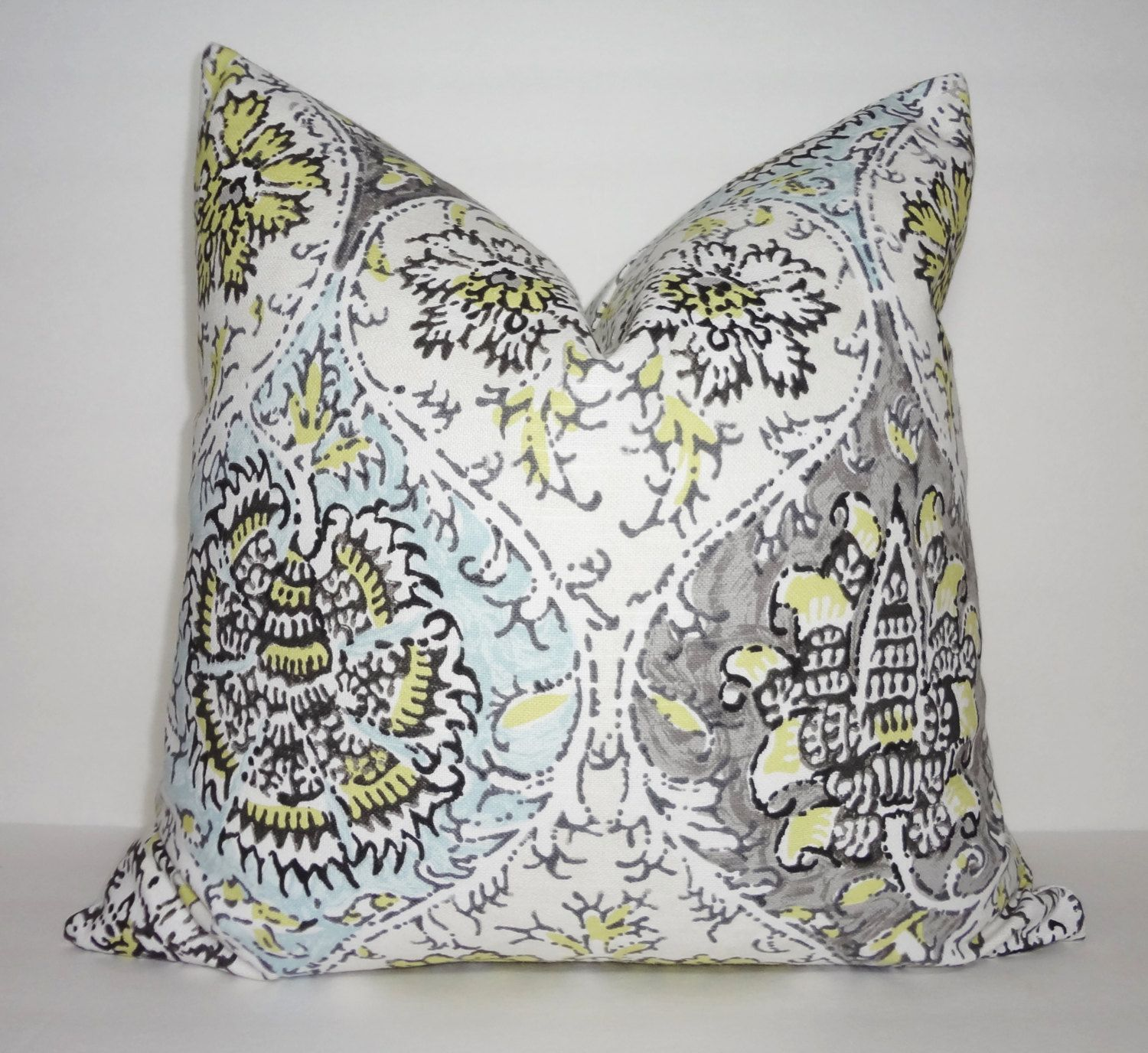 Grey Blue Yellow Floral Print Pillow Cover Decorative