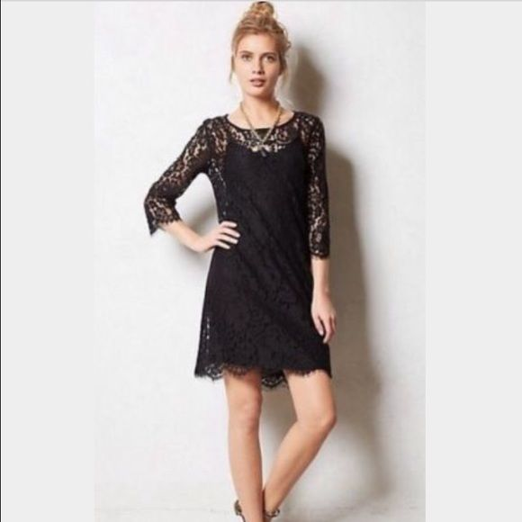 Anthroologie HD in Paris Black Lace Dress Super pretty, black lace. Worn once to a daytime wedding, like new! Anthropologie Dresses