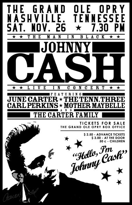 Concert poster 1950s johnny cash