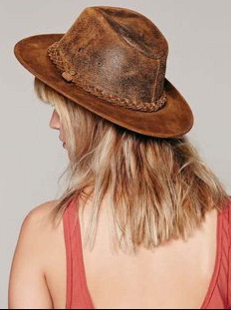Free People Hat Topanga brown distressed leather Rancher Hat S NWOT   Henschel  RancherHat 9f442e15b47