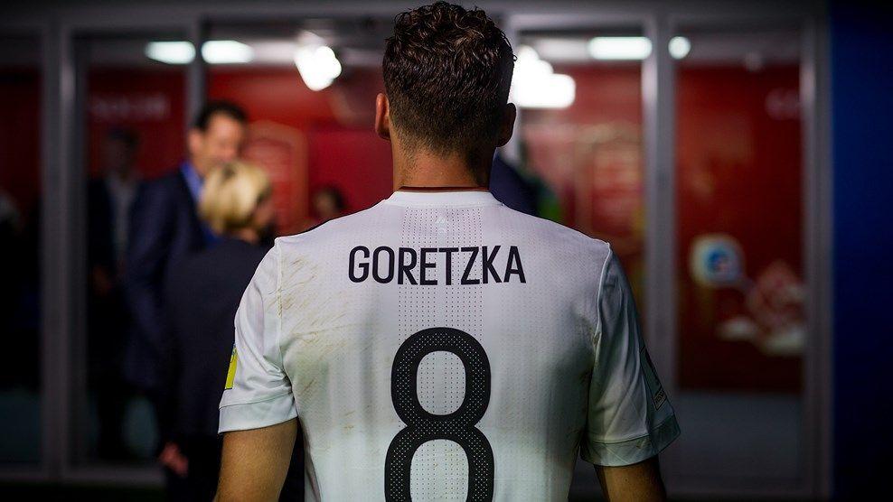 buy online a327a b556f Man of the Match Leon Goretzka of Germany walks off the ...
