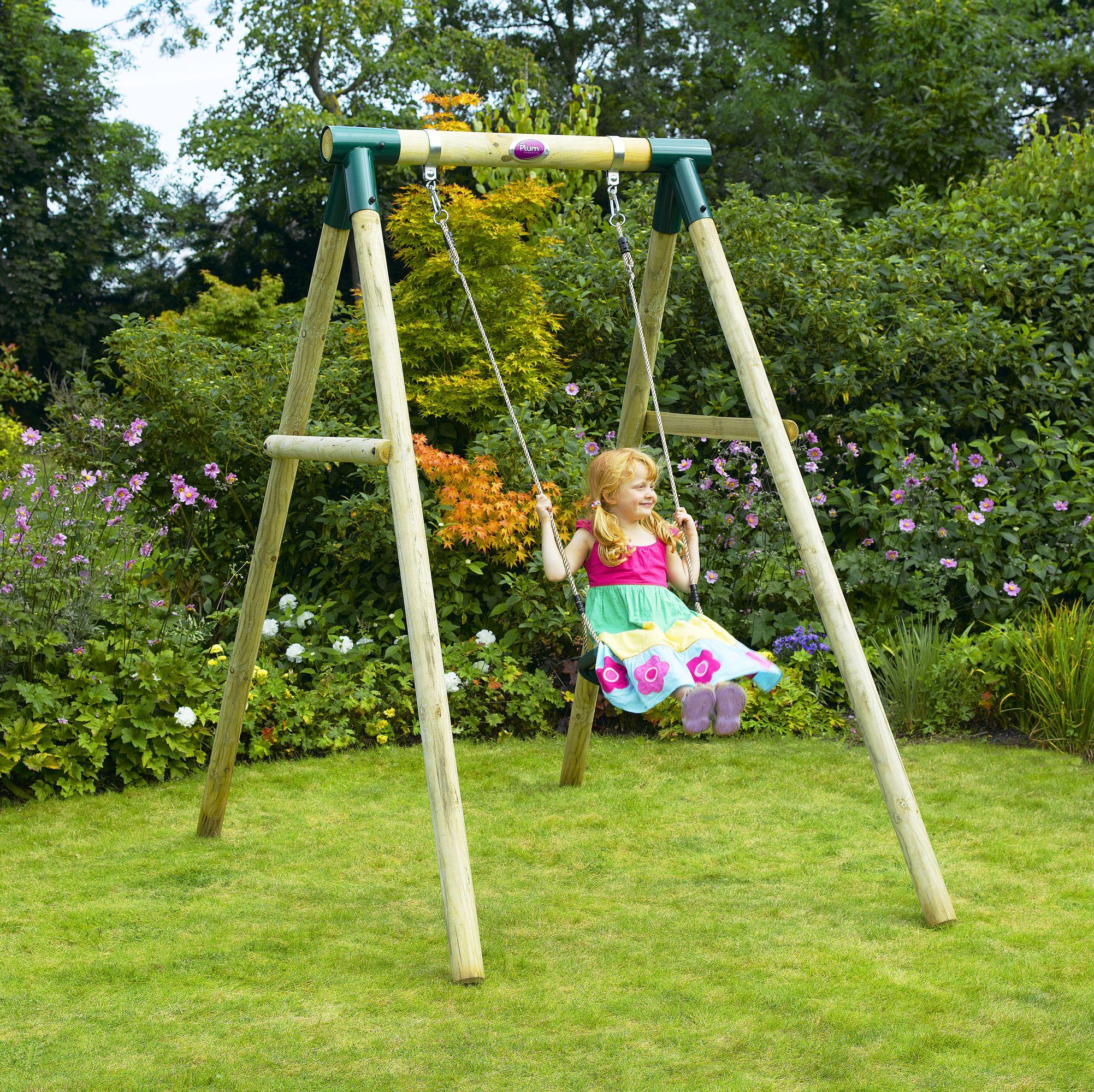 Plum® Bush Baby® Wooden Garden Swing Set   Children Will Love Outdoor Play  With The Plum® Bush Baby® Garden Swing Set! This Wooden Framed Play Set Has  One ...