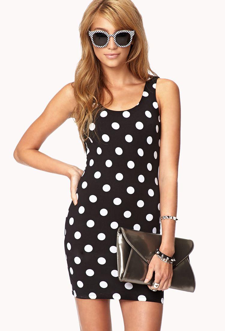 dc3768fe4a49 Forever 21 Sweet Polka Dot Bodycon Dress in Black (BLACK/WHITE) | Lyst