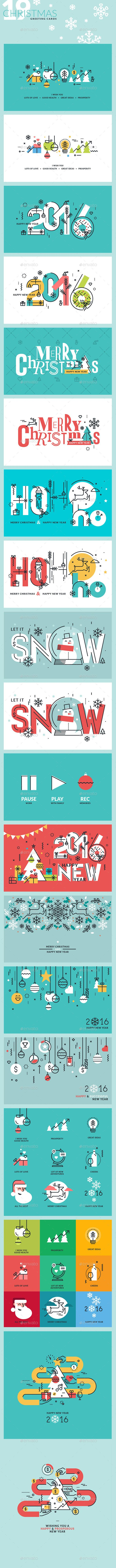 Set of Flat Line Design 2018 Christmas Greeting Cards | Navidad ...
