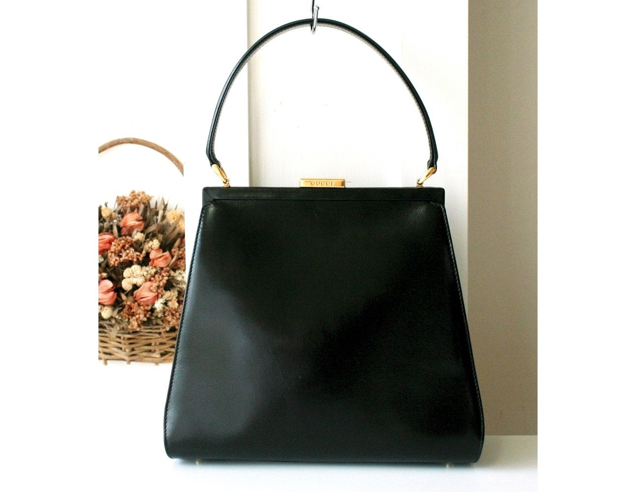 d6fd36bce48 Gucci Kelly bag 80 s Vintage Rare Authentic Black Tote Handbag Purse by  hfvin on Etsy