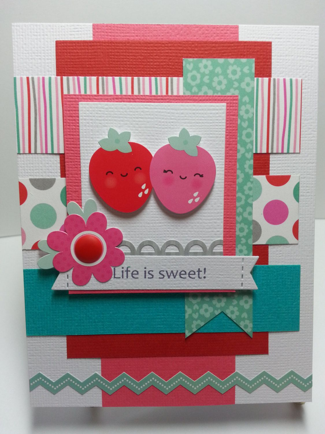 Handmade Valentines Card All Occasion Card by K8Kreations on