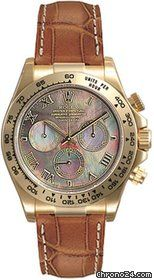 Beautyfull Pearl Dial - Rolex Daytona Black Mother of Pearl Roman Dial Leather Bracelet 18k Yellow Gold Watch 116518BMRL $21,445 #Rolex #watches #chronograph
