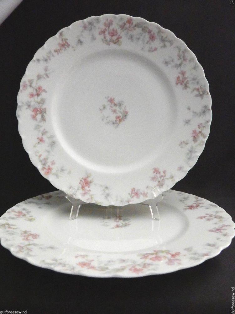 2 Haviland Limoges Dinner Plates 9.5  White Scalloped Rim Pink u0026 Blue Floral & 2 Haviland Limoges Dinner Plates 9.5