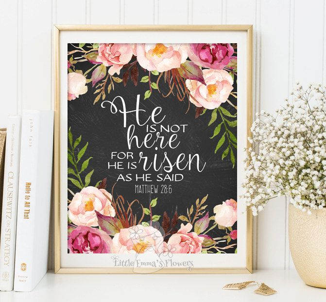 Easter Print wall art decor Matthew 28:6 Easter Decoration Easter