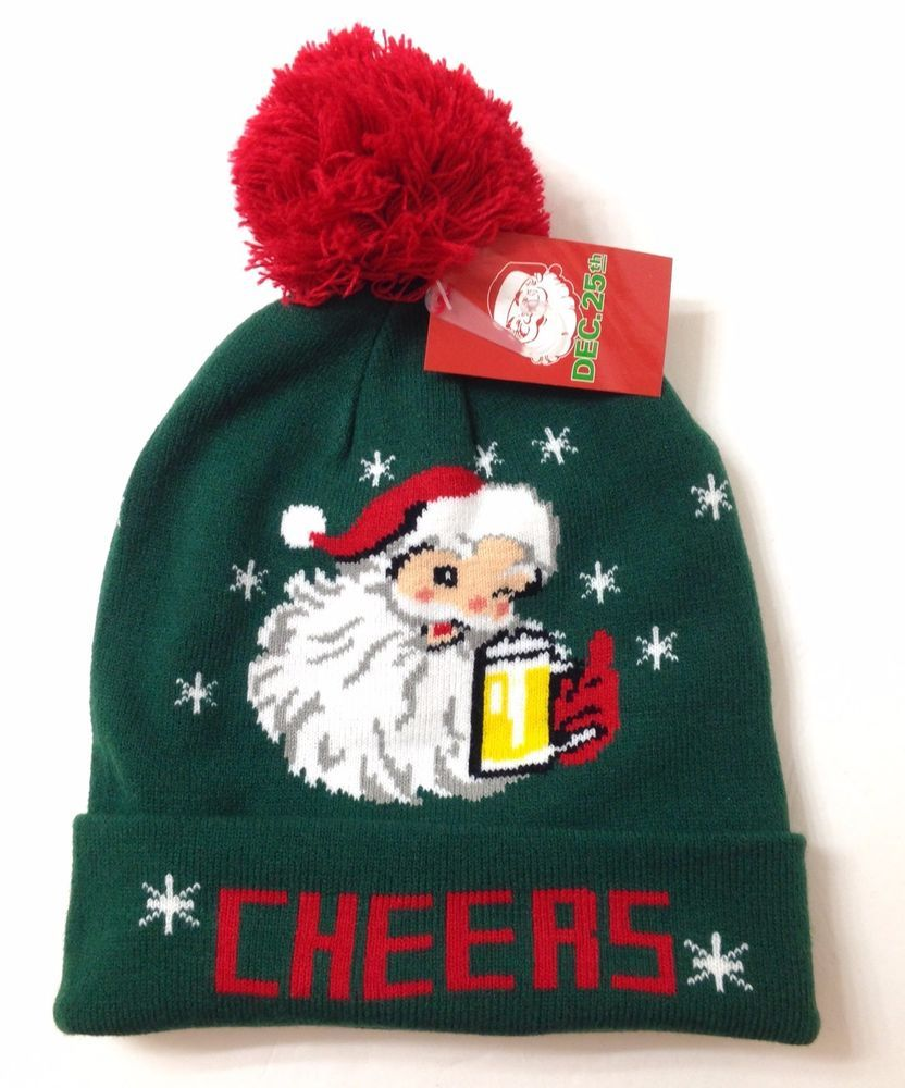 a95bb46debdff Funny WINK SANTA CLAUS DRINKING BEER CHEERS POM BEANIE Men Women Winter  Knit Hat  Dec25th  Beanie
