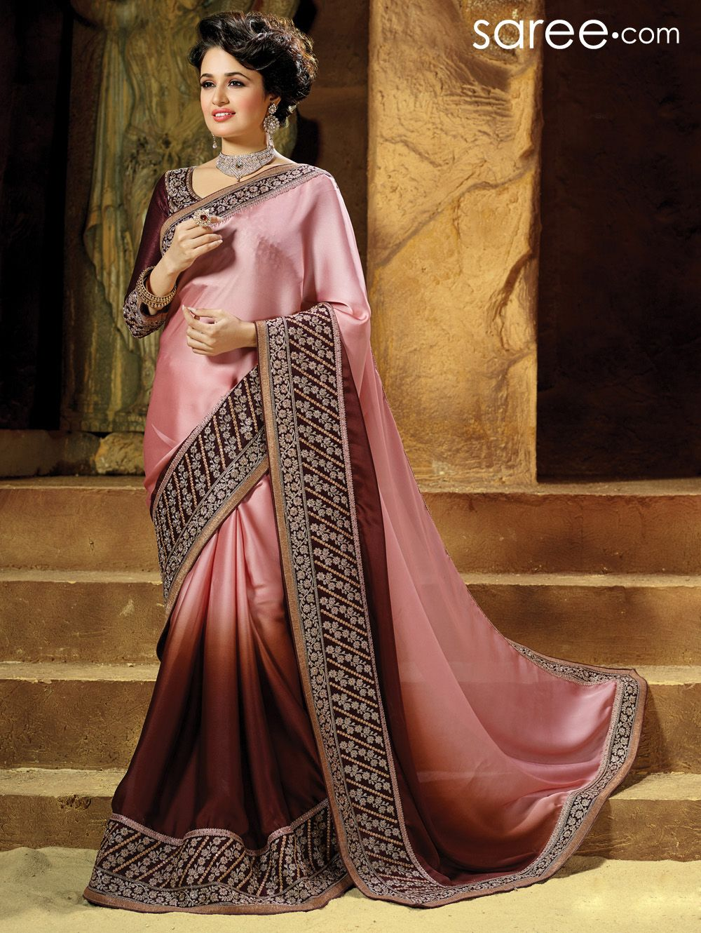 PINK AND BROWN GEORGETTE SAREE WITH RESHAM WORK Sarees Pinterest