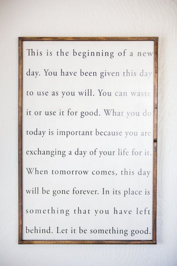 today is the beginning of a new day