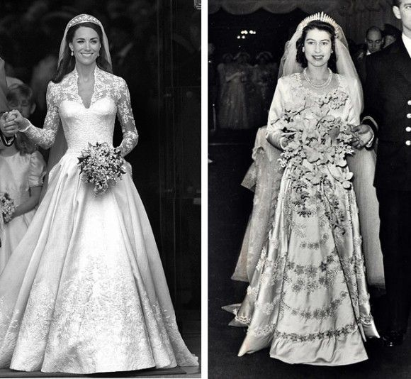 British Royal Wedding Gowns: Royal Wedding Dress Kate Middleton And Queen Elizabeth