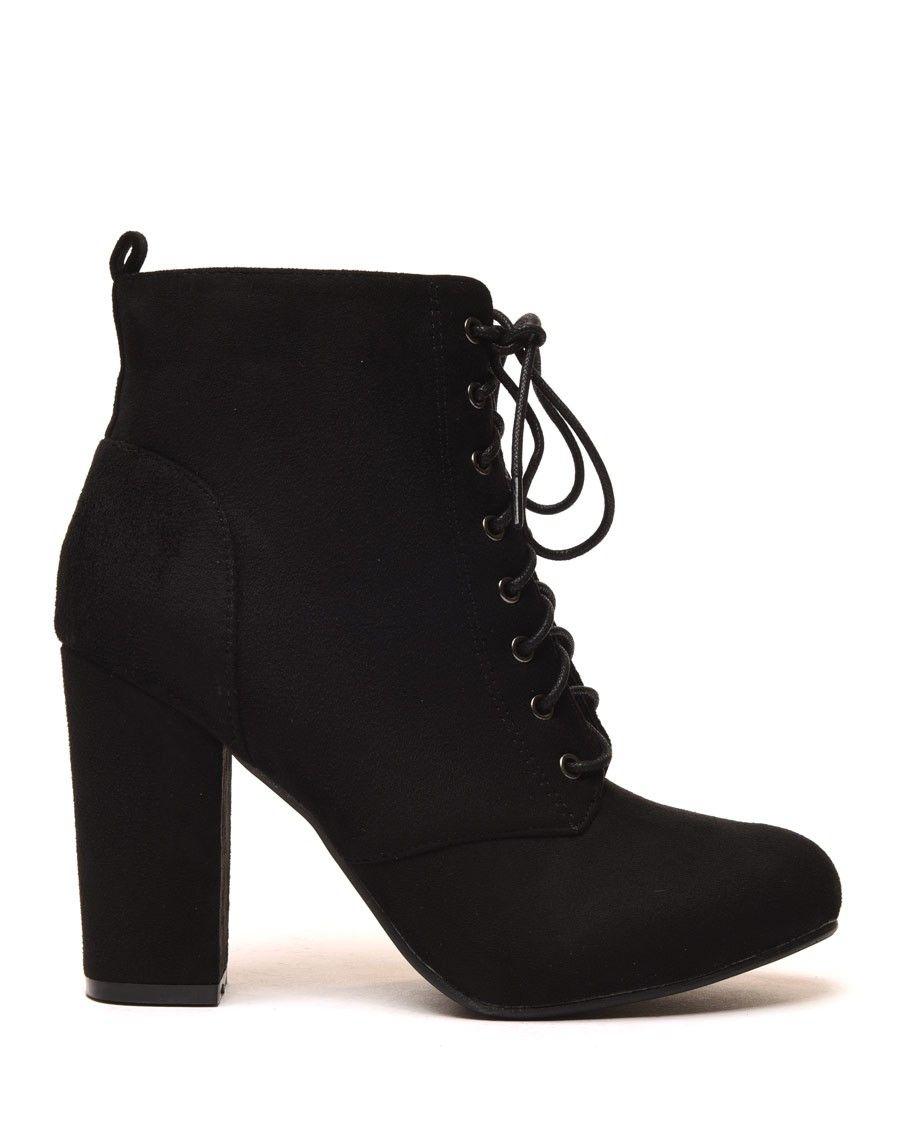 bottines fourrées noires à talons et lacets | mode | pinterest