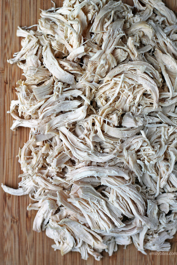 Easy Slow Cooker Shredded Chicken - Emily Bites #shreddedchickentacos