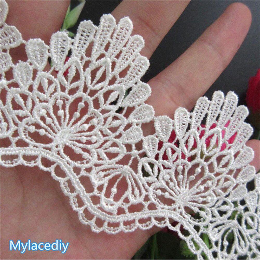 5 Yards Floral Lace Trim Wedding Bridal Ribbon Clothing DIY Craft 7cm White