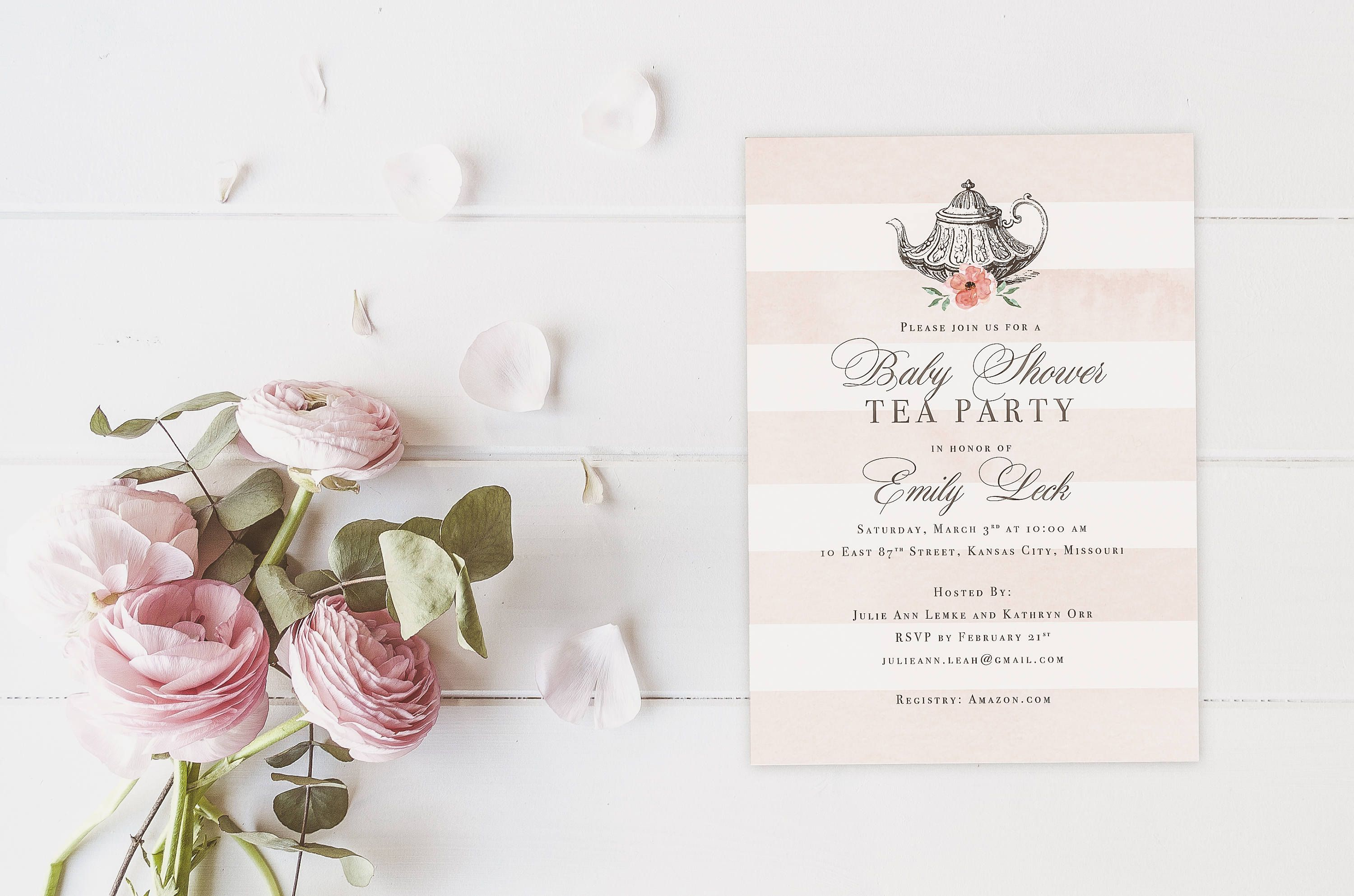 Vintage Tea Party Baby Shower Invites, High Tea Party Baby Shower ...