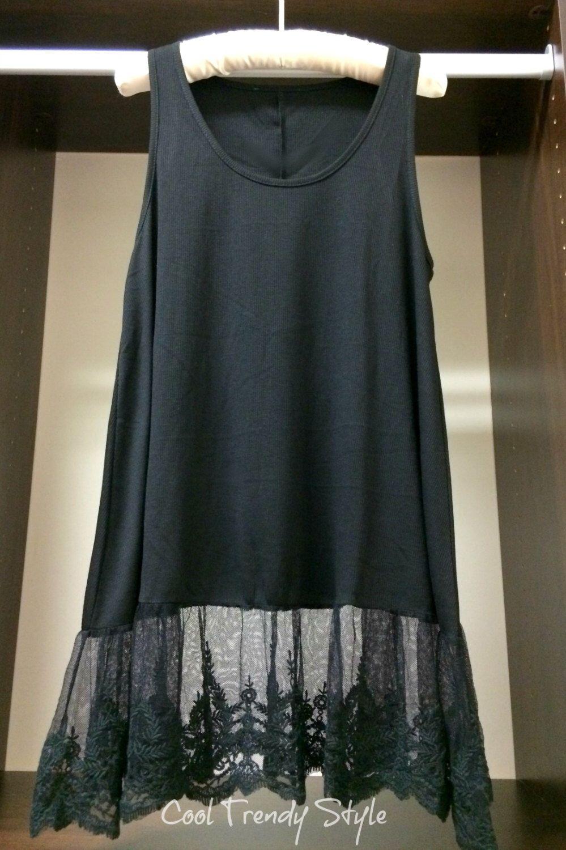 Wholesale lace shirt extender - Lace Tank Extender Black Top Womens Top Slip Extender Top Slip Extender Shirt Extenders