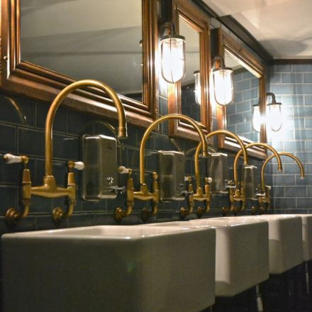 bathroom at jamies italian restaurant in bristol uk photo by rin simpson glass - Restaurant Bathroom Design