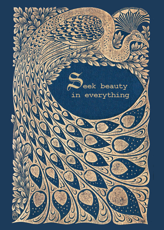 Old Book Cover Quotes : Vintage peacock print seek beauty inspirational quote