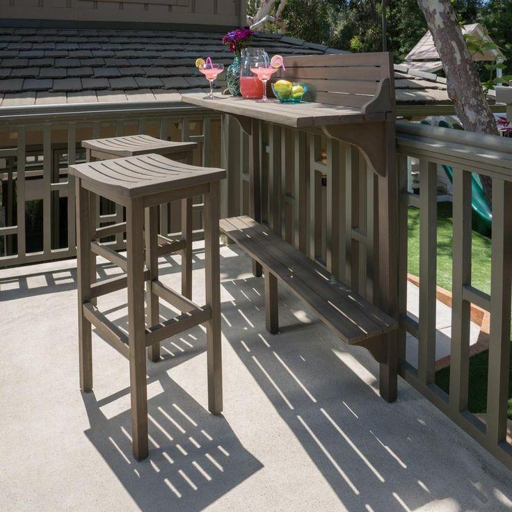 Noble House Grey 3-teiliges rechteckiges Balkonset aus Holz für den Außenbereich-41538 #balconybar