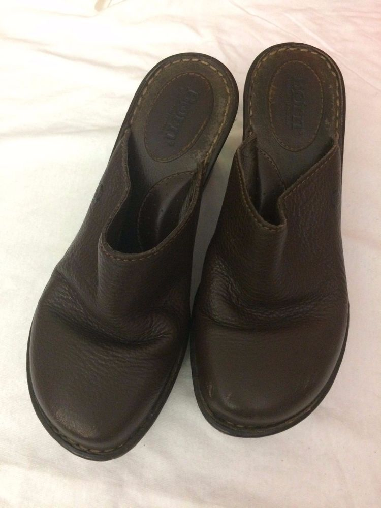 Footwear · Women's Born Brown Soft Leather Heels Mules Clogs Slip On Slides  Shoes Size 7 ...