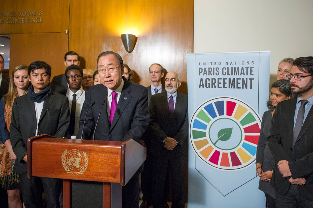 Secretary-General Ban Ki-moon speaks to journalists on the entry into force of the Paris Agreement on climate change. UN Photo/Rick Bajornas