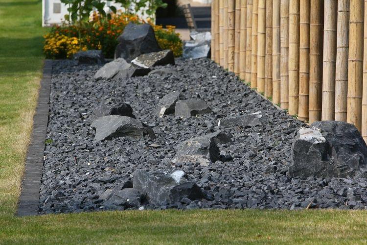 Steingarten Anlegen Gartengestaltung Kies Splitt Anthrazit Japanischen  Garten