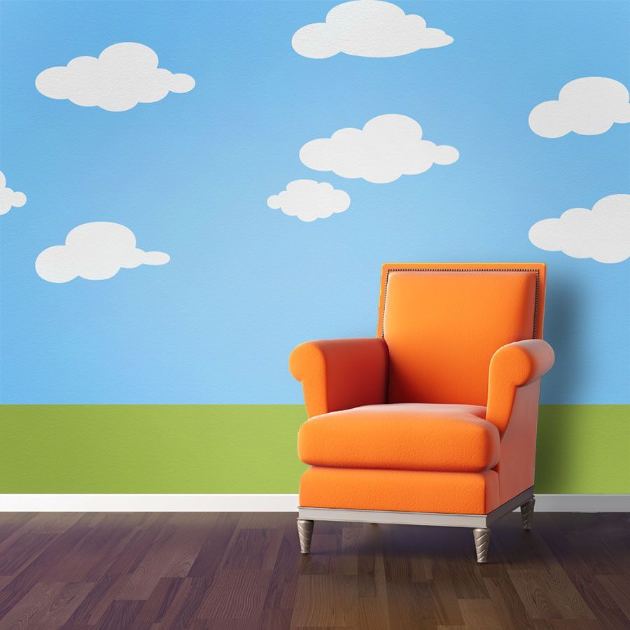 Cloud Wall Stencils for Creating a Cloud Wall Mural | Kids Room in ...