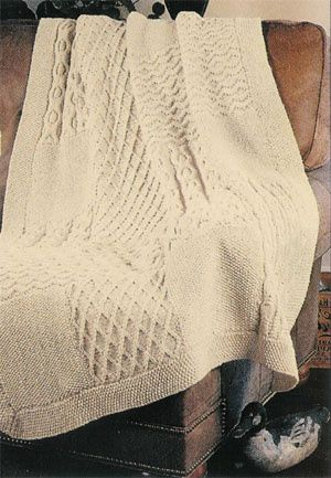 Knitted - Aran knit sampler afghan - Free pattern - Downloaded and printed ...