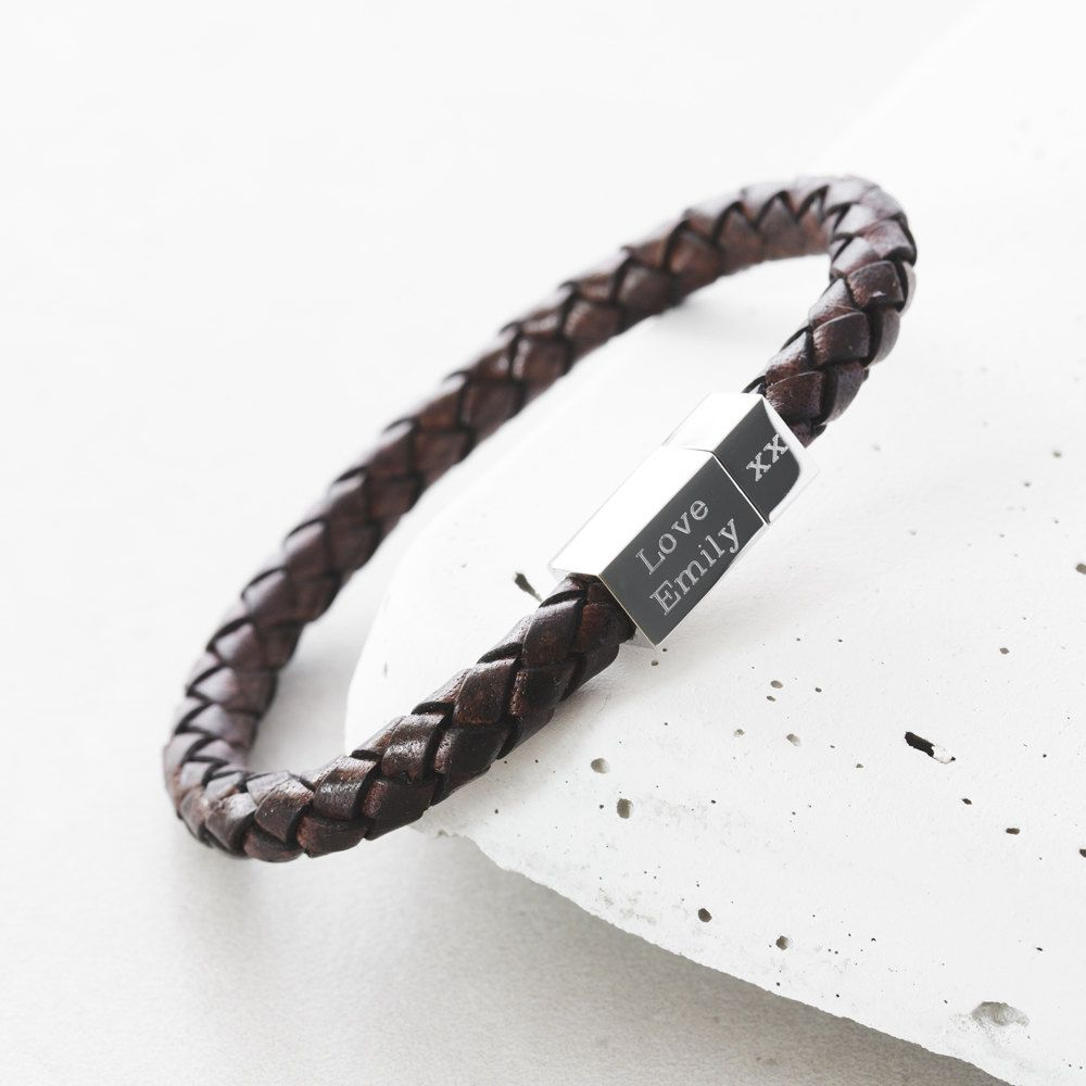 Mens Square Leather Engraved Bracelet Men S Custom Personalized For Him