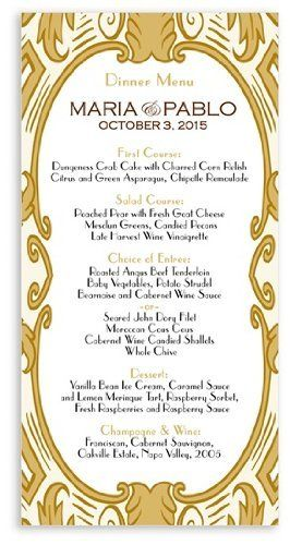 130 Wedding Menu Cards - Grand Imperial by WeddingPaperMasters.com. $94.90. Now you can have it all! We have created, at incredible prices & outstanding quality, more than 300 gorgeous collections consisting of over 6000 beautiful pieces that are perfectly coordinated together to capture your vision without compromise. No more mixing and matching or having to compromise your look. We can provide you with one piece or an entire collection in a one stop shopping ex...