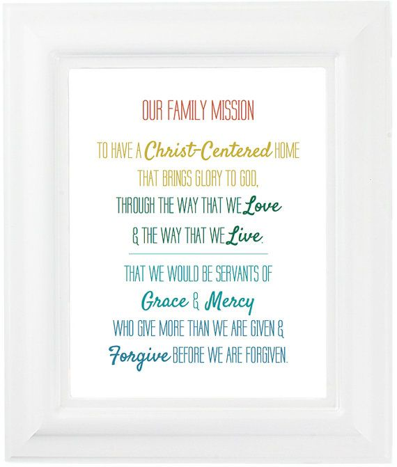 Christian Family Mission Statement Print By Mercyandgracedesign