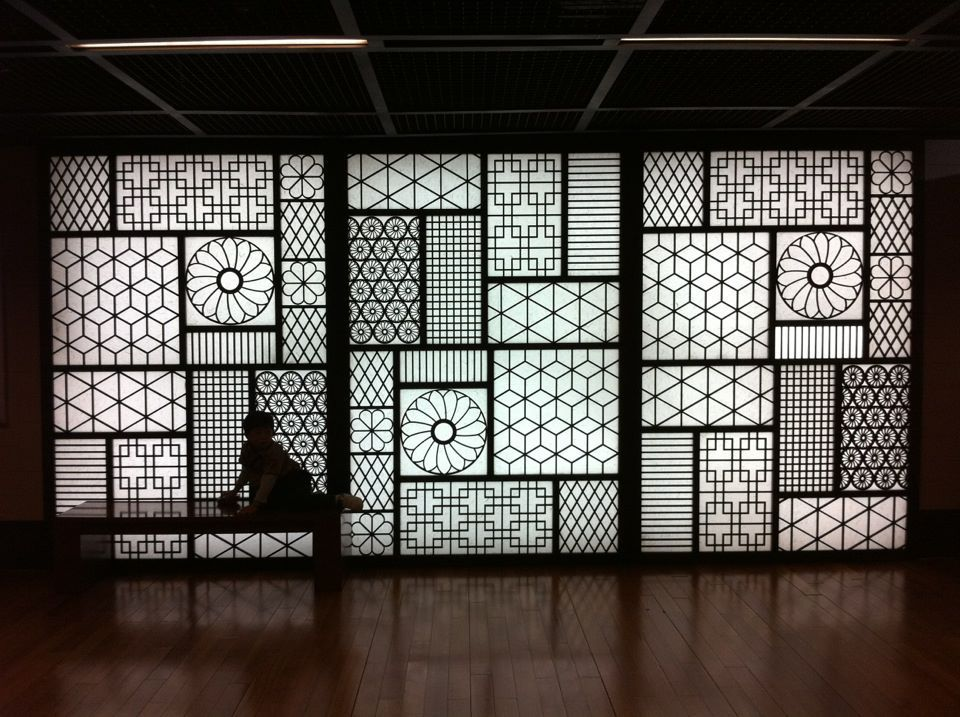 sejong cultural center in seoul wall features traditional decorative motifs that appear in textiles and