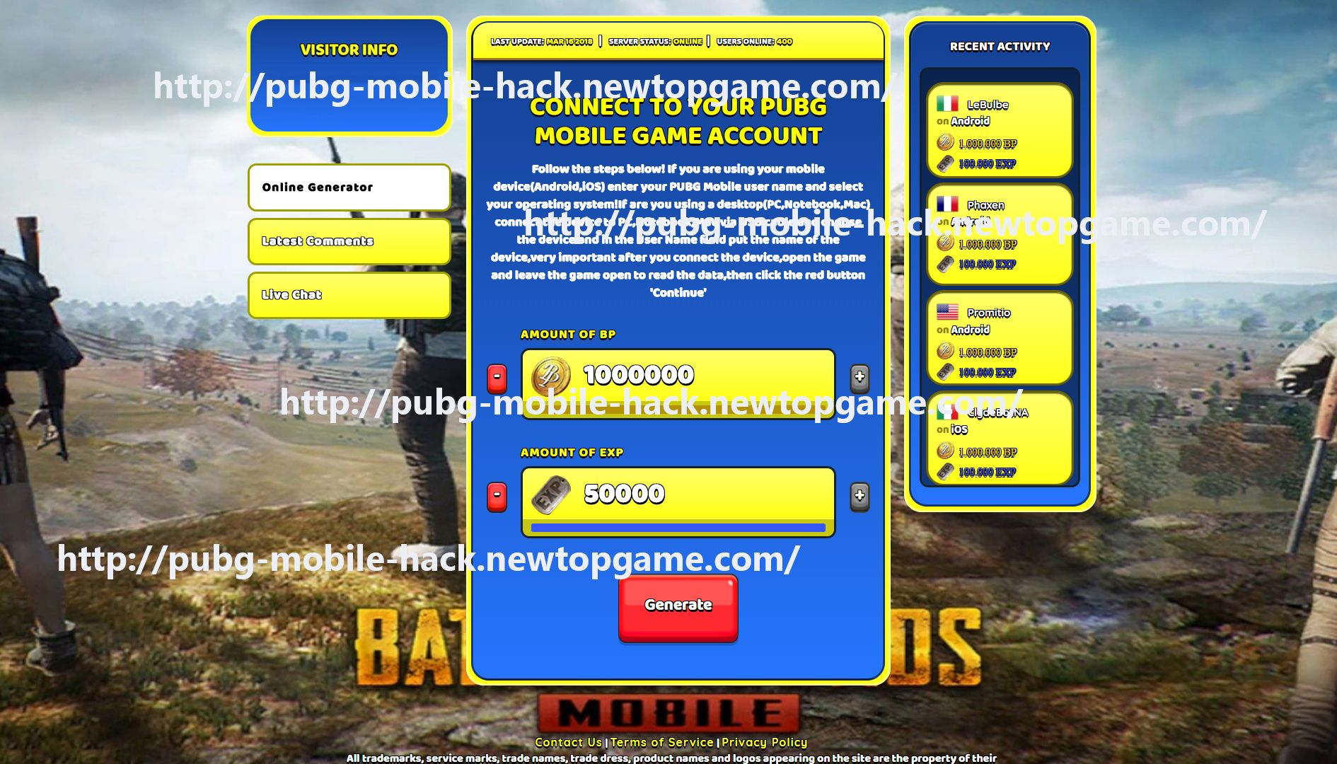 PUBG Mobile Hack Cheat BP & EXP Generator No Survey 2018 | Generator