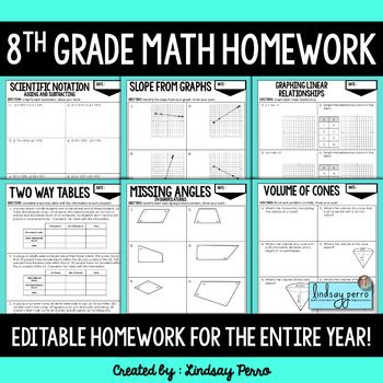 8th Grade Math Homework - A Full Year of Editable Homework ...
