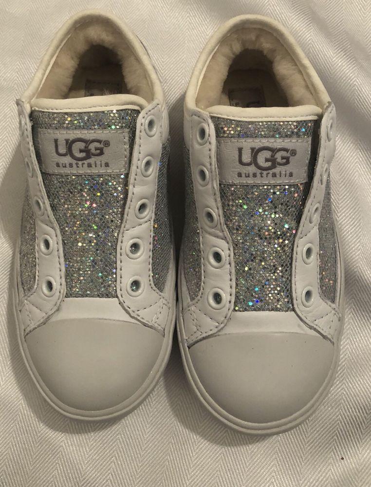 fe357cdd624 NIB UGG Australia Girls K Laela Low Top Lace Up Hologram White Sz ...