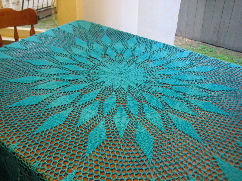 Superb Turquoise Crochet Mod Mandala Tablecloth. $50.00, Via Etsy.