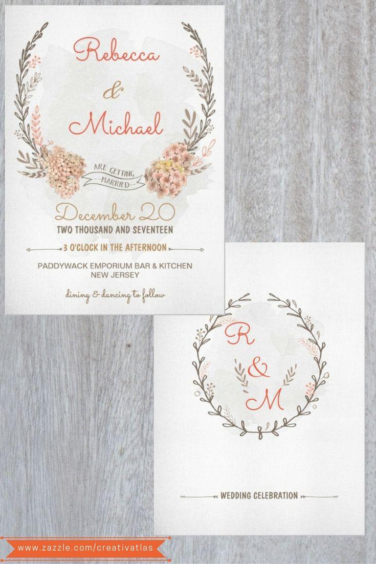 Rustic Grey Red Wreath Watercolor Invitation   Wedding invites ...
