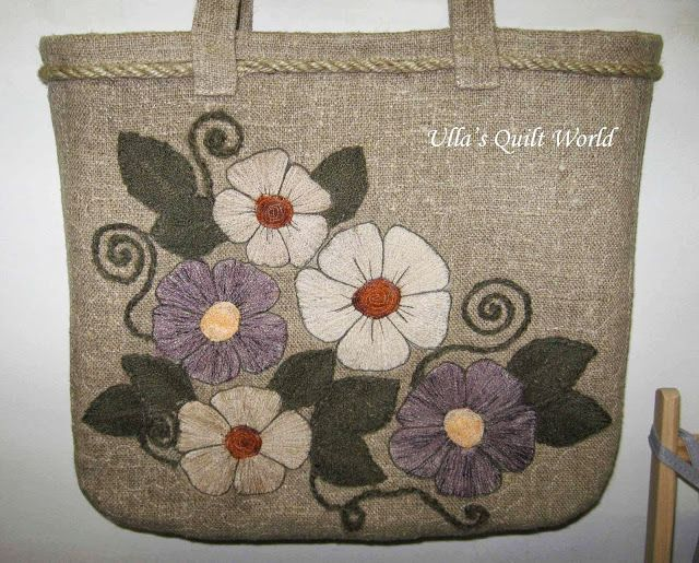 Ulla's Quilt World: Quilted applique bag, flowers