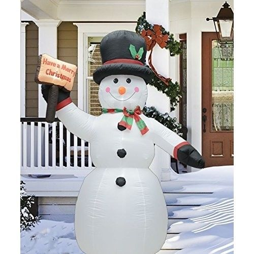 Christmas Snowman Placard Airblown Inflatable 8 Ft Yard LED Lighted - inflatable christmas yard decorations