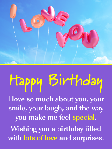 I Love You Balloons Romantic Happy Birthday Card For Him Birthday Greeting Cards By Davia Romantic Birthday Messages Romantic Birthday Cards Happy Birthday Cards