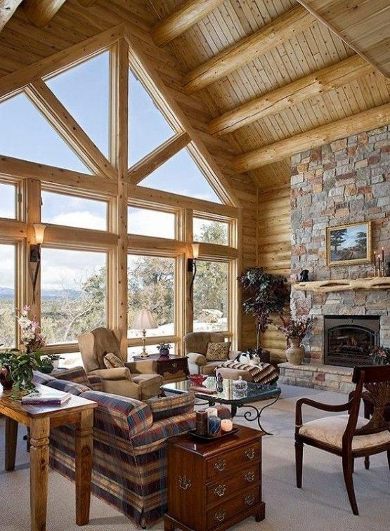 Inrichting blokhut - I Love My Interior Log Homes Pinterest