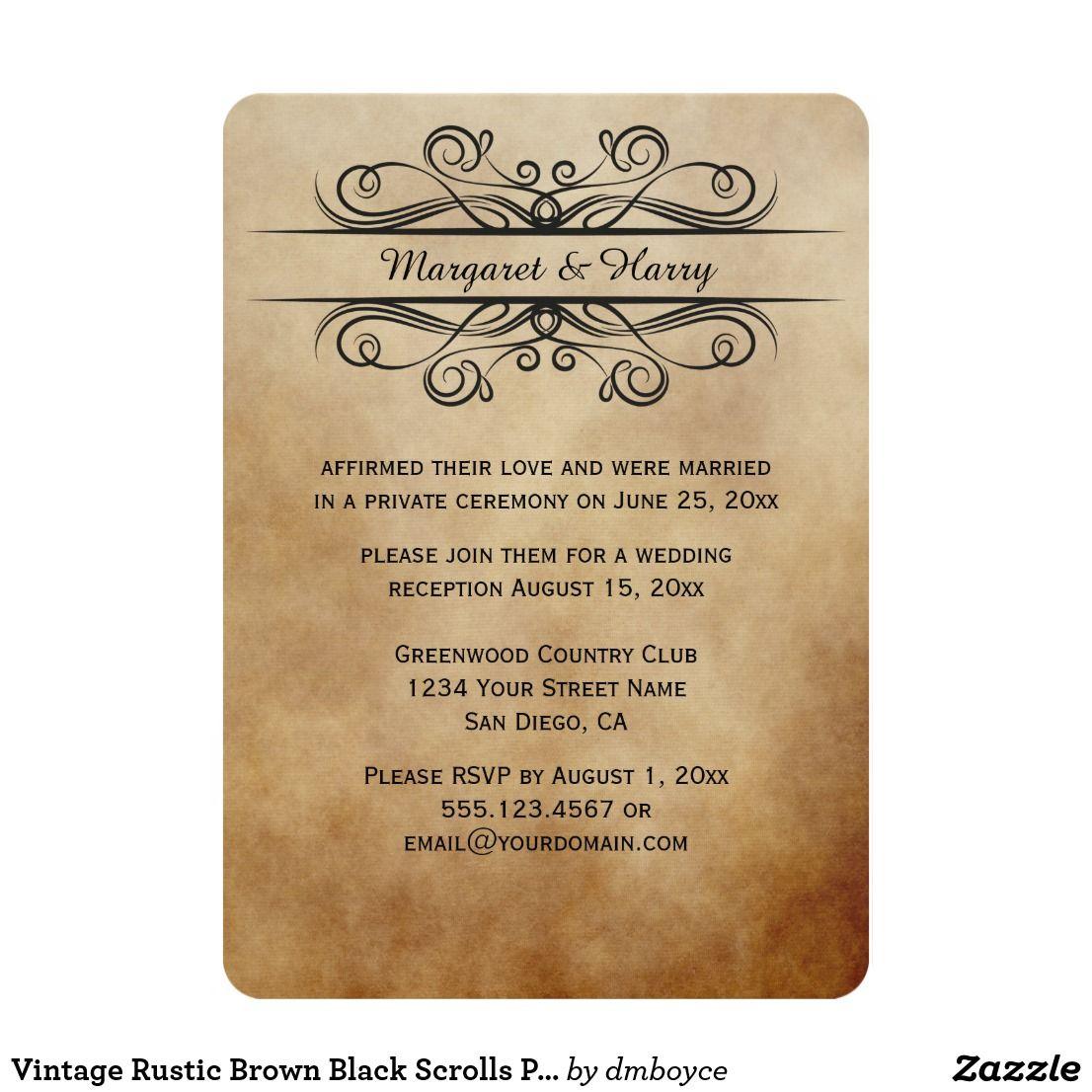 Vintage Rustic Brown Black Scrolls Post Wedding Card Vintage Rustic ...
